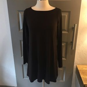 Eileen Fisher Brown Viscose Jersey Boatneck Tunic
